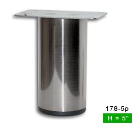 Sleek Brushed Satin Steel Straight Metal Leg 5 H 178 5p