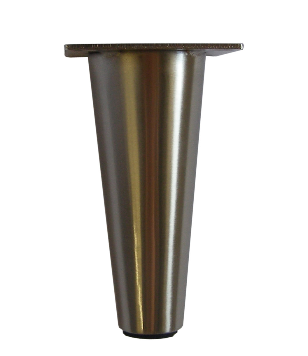 Metal Furniture Leg, Metal Feet,6.5u2033H, Cone Shape Brushed Satin Finish  578 621p
